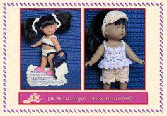 Maillot de bain + sac + tapis de bain + liens cheveux + short + top + visière pour Poupée 20 cms Mini Corolline : Jeux, jouets par la-boutique-des-poupees