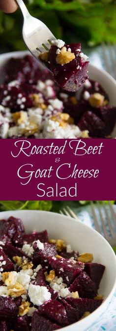 Beet & Goat Cheese Salad Tender roasted beets tossed with tangy goat cheese, toasted walnuts and a yummy balsamic vinaigrette!Tender roasted beets tossed with tangy goat cheese, toasted walnuts and a yummy balsamic vinaigrette! Beet Goat Cheese Salad, Roasted Beet Salad, Roasted Beets Recipe, Roasted Walnuts, Toasted Almonds, Beet Recipes, Cheese Recipes, Healthy Recipes, Best Beet Salad Recipe
