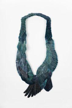 DIE DENKENDE HAUT - Eunmi Chun. Necklace: The Blue Bird, 2018. Intestate of cow, thread.. 57 cm x 28 cm x 3.5 cm. Photo by: Mason Douglas.