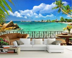 Bright blue sky and turquoise water beach wallpaper. large deck overlooking the sea with palm trees tropical scene embossed wall mural for home or business. Strand Wallpaper, View Wallpaper, Ocean Wallpaper, Wallpaper Decor, Scenery Wallpaper, Custom Wallpaper, Nature Wallpaper, Designer Wallpaper, 3d Wall Murals
