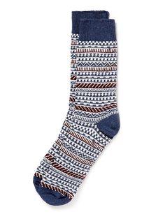 Blue Marl Fairisle Socks