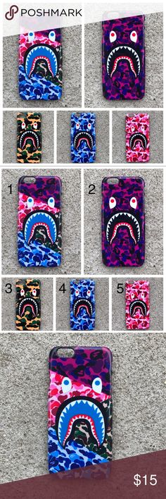 Beautiful BAPE Camo Shark Mouth Collection iPhone BAPE Shark Mouth 5 colors available | ALL iPhones 6 6s 6+ 6s+ 7 7+ 8 8+ Case Please let me know which color by commenting and choosing a number 1 through 5 displayed in the second pic. Also let me know the size you want. All sizes and colors are in stock. Bundle and save. Send me offers for more than one and I will give you a good deal. Satisfaction guaranteed or money back. Returns accepted within 14 days. Buyer covers return shipping. Ships…