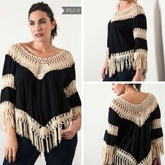 Crochet Knit Frayed Top - Black - Curvy - Sizes XL, 1XL, 2XL - $35.50