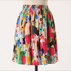 "Anthropologie Mossy Atoms Skirt Corey Lynn Calter Gorgeous floral silk skirt from Anthropologie! This skirt is in like new condition, only worn once. With all the fun colors this skirt is guaranteed to brighten your day! 100% silk, fully lined. Side pockets. Pull on styling with elastic waist. 21.5"" long. By Corey Lynn Calter. Anthropologie Skirts"