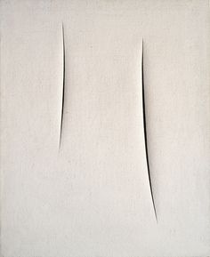 Lucio Fontana - Two openings approaching each other in space of the canvas, but never touching - leaving a hesitant and deliberate pause of contact and visual space in between. Elegant. Thoughtful. Simplicity.
