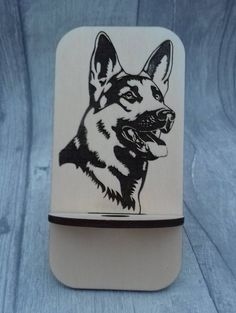 Unique Laser cut and engraved German Shepherd GSD Alsatian Phone stand based on the viking stargazer chair design Husband Day, Alsatian, Stargazer, Son Love, Phone Stand, Craft Gifts, Chair Design, Laser Cutting, Plywood