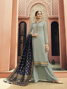 1aa2587d5fb Grey Color Satin Georgette Fabric Designer Semi-Stitched Dress Material
