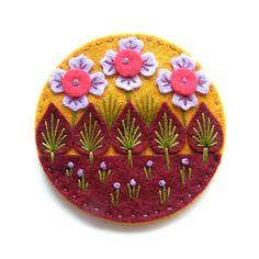 Wonderland felt brooch with freeform embroidery by designedbyjane, £15.00 Felt Fairy, Felt Embroidery, Felt Brooch, Wool Applique, Statement Jewelry, Pin Cushions, Felt Crafts, Hand Sewing, Felt Projects
