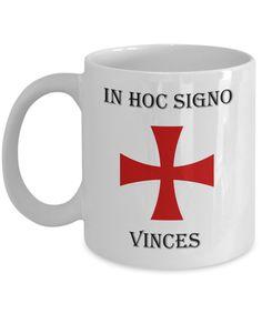 Knights Templar coffee mug. In hoc signo vinces templar cross gift vup. Freemasonry accessories 100
