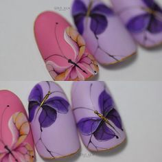 Butterfly Nail Art, Butterfly Design, Garra, Gel Designs, Nail Art Designs, Diy Nail Polish, Diy Manicure, Beautiful Nail Designs, Nail Tips