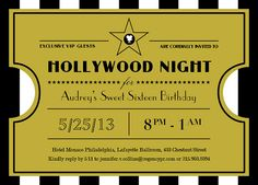 Hollywood Glamorous Stripes - Ticket Design - perfect for events like Sweet Sixteen/16
