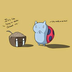 Oatmeal crying and catbug next to oatmeal