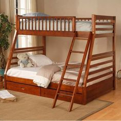 Twin over Full Bunk Bed with Storage Drawers in Oak Finish