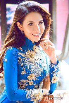 royal blue and yellow ao dai