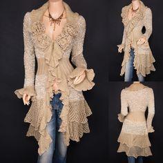 Trendy Beige Ruffled Floral Applique Tiered Hem Cardigan Long Sweater Jacket 14