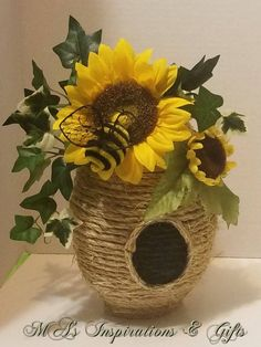 Large Beehive will decorate your home or wedding. Measures approximately 9 inches tall with sunflowers and a cute little bee. **Bee and Floral may vary slightly** Message for other flower availability Also available in set in separate listing. Diy Crafts For Gifts, Fall Crafts, Decor Crafts, Christmas Crafts, Bumble Bee Decorations, Apple Decorations, Sunflower Crafts, Sunflower Home Decor, Bee Skep