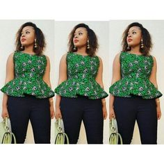 Hi Guys Heres an easy tutorial on to cut and sew a peplum blouse. Its a simple blouse that can be styled in different ways for different occasions . African Print Peplum Top, Ankara Peplum Tops, Ankara Blouse, Ankara Tops Blouses, Ankara Skirt, African Wear Dresses, Latest African Fashion Dresses, African Outfits, African Attire