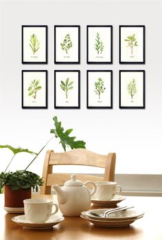 Merveilleux Kitchen Wall Art, Herb Watercolor Painting, Botanical Chart, Set Of 8  Botanical Print Set, Spring Art, Green Leaf Print, Art For Kitchen