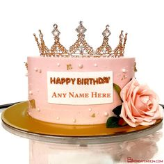Print Name On Happy Birthday Cake With Crown For Friend