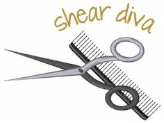 Concord Collections Embroidery Design: Shear Diva 2.98 inches H x 3.93 inches W