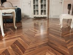 American walnut parquet flooring / engineered / varnished CHEVRON COLLECTION - AMERICAN WALNUT TRADITIONAL Coswick Hardwood Inc.