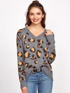 Grey V Neck Drop Shoulder Leopard Sweater