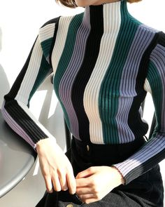 Super knitting fashion knitwear inspiration 65 Ideas Super knitting fashion knitwear inspiration 65 Ideas History of Knitting Wool rotating, weaving and s. Knitwear Fashion, Knit Fashion, Sweater Fashion, Womens Fashion, Outfit Stile, Pullover Mode, Striped Knit, Everyday Fashion, Autumn Fashion