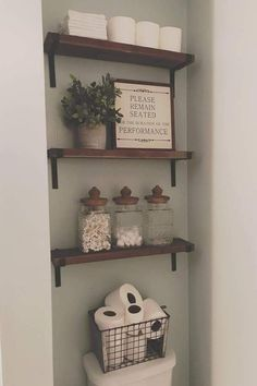 48 Gorgeous Farmhouse Bathroom Decor Ideas Match With Any Home Design - All About Decoration Small Bathroom Storage, Bathroom Shelves, Bathroom Ideas, Bathroom Organization, Bathroom Cabinets, Bathroom Bin, Wooden Bathroom, Shower Ideas, Bathroom Mirrors