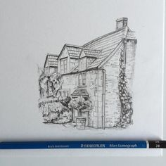 #art #drawing #pencil #sketch #illustration #linedrawing #house #architecture #cottage #staedtler