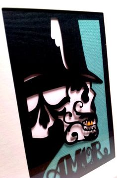 Sugar Skull Day of the Dead Framed Paper Cut Steam by MinksPaperie, $35.00