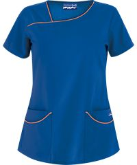 Butter-Soft Scrubs Asymmetrical Neck Top - XS - Royal W/ Turquoise Scrubs Outfit, Scrubs Uniform, Cute Nursing Scrubs, Scrubs Pattern, Underwear Pattern, Drawstring Pants, African Fashion Dresses, Scrub Tops, Work Attire