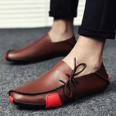 2019 New Leather Mens Loafers Fashion Shoes Handmade Moccasins Soft Leather Slip on Men& Boat Shoe Big Size , Zapatos de hombre Leather Moccasins, Leather Loafers, Leather Slip Ons, Leather Men, Soft Leather, Leather Sandals, Brown Leather, Mens Loafers Shoes, Loafer Shoes