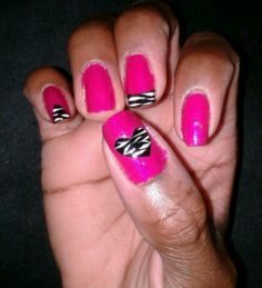 10 minute zebra cut out heart nails...put black polish on a file folder sticky label...once dry cut out desired shape stick on nail decorate and cover with top coat.