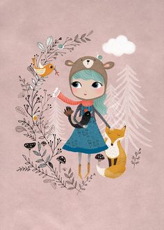 Affiche (A3) Bear Girl Mauve Rebecca Jones