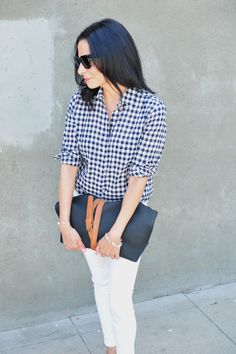 J Crew Gingham Top Ecco Eyota Tote 3 Style Hacks To Accessorize Any Bag