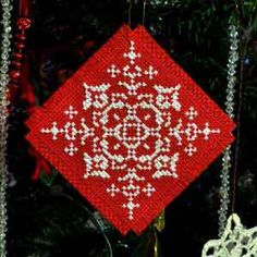 Red & Green, Cross Stitch Christmas Tree Ornament