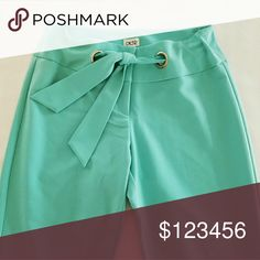 "CACHE Aqua Blue Green Dress Pants Front Tie NWT Beautiful aqua blue dress pants from Cache. Tag says aqua but the color also reminds me of a mint green. Has a front tie and zipper closure with 2 buttons and 2 clasps. New with tags!   One very small imperfection on fabric to the back leg as seen in photo. Only noticeable when looking way up close.   Size 4.   Measures approximately:  15"" flat across at waist 34"" inseam  🎉 Host Pick - ""Style Trends"" 🎉 🎉Host Pick - ""Casual Friday"" 🎉 Cache…"