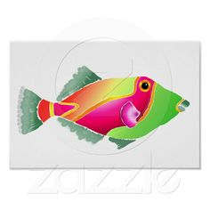 Pink and Green Tropical Fish Posters from Zazzle.com