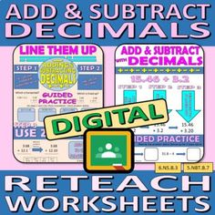 Digital Reteach Worksheets - Adding and Subtracting numbers with Decimals