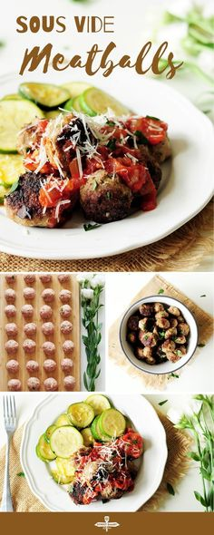 Topped with pasta sauce and parmesan cheese, these hearty, savory sous vide meatballs will satisfy your comfort food cravings any day of the week. Vegetarian Recipes Easy, Beef Recipes, Healthy Recipes, Sweets Recipes, Delicious Recipes, Recipies, Easy Family Meals, Family Recipes, Sous Vide Cooking