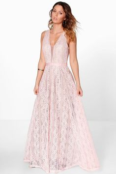Boohoo Womens Boutique All Lace Plunge Neck Maxi Dress