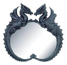 dragon furniture | Twin Dragon Perfectly Symmetrical Mirror Frame Art