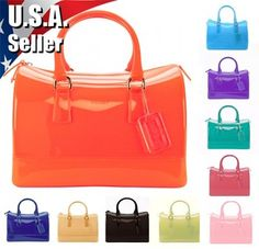 New Women Candy Jelly Satchel Rubber Pvc Hobo Bag Handbag Purse