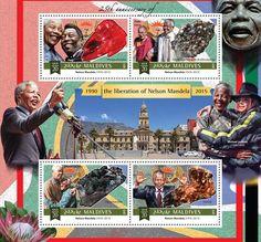 Nelson Mandela - Issue of Maldives postage stamps Nelson Mandela Day, Desmond Tutu, Dalai Lama, Steve Jobs, Mail Art, Maldives, Postage Stamps, Around The Worlds, 25th Anniversary