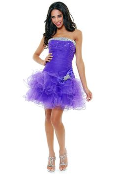 2011 Homecoming Dresses- Purple Ruffle TuTu Strapless Cocktail Dress - XS-2X