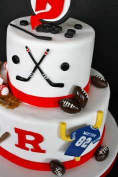 Hockey, baseball, and football cake Hockey Birthday Cake, Hockey Party, 7th Birthday, Birthday Cakes, Hockey Cupcakes, Berry, Cupcake Pictures, Sport Cakes, Gateaux Cake