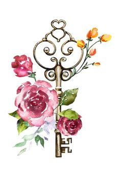 Key w/- roses City Wallpaper, Wallpaper Backgrounds, Watercolor Drawing, Watercolor Paintings, Photo Deco, Decoupage Art, Wall Art Prints, Photo Art, Art Drawings