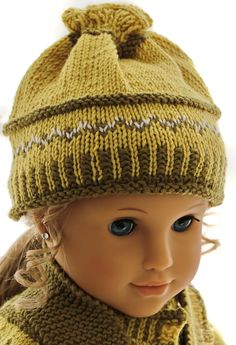 Knitting patterns for american girl doll clothes - This outfit looks fabulous with a green scarf Girl Doll Clothes, Doll Clothes Patterns, Girl Dolls, Loom Knitting Patterns, Lace Knitting, Knitting Ideas, Knitted Dolls, Knitted Hats, Bonnet Crochet