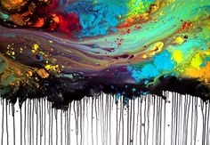 Melted crayon art...I think you melt the crayons on top, let them drip then dip into water...then on the bottom put the black crayon and just melt them the other way! :D So want to do this