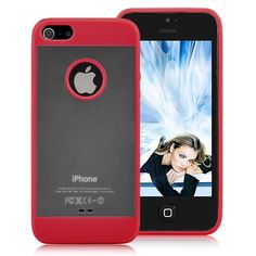 Frosted Translucent Back Cover With TPU Edged Case For iPhone 5 - Red